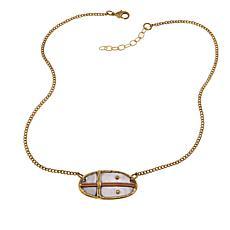 """Anju Tri-Tone Oval Cross Drop 16-1/2"""" Necklace"""