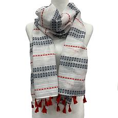 Anna Cai Geo Scarf with Fringe