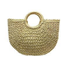 Anna Cai Half Moon Natural Straw Tote