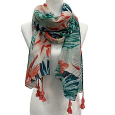 Anna Cai Palm Scarf with Fringe Tassels