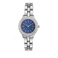 Anne Klein Crystal Bezel Round Navy Dial Watch