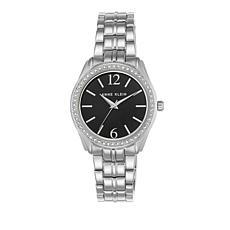 Anne Klein Crystal Bezel Silvertone Bracelet Watch