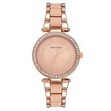 Anne Klein Women's Rosetone Crystal Bezel Bracelet Watch
