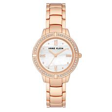 Anne Klein Women's Rosetone Crystal Bracelet Watch
