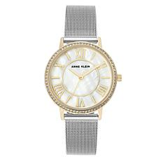 Anne Klein Women's Silvertone White Mother-of-Pearl Mesh Watch