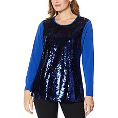 """Antthony """"All That Glitters"""" 2-Tone Sequin Top"""
