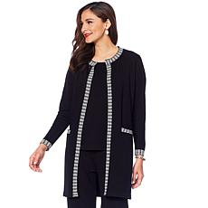 """Antthony """"Check Me Out"""" Contrast Trim Jacket and Knit Top Set"""