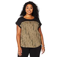 Antthony Contrast Yoke Top with Zipper Detail