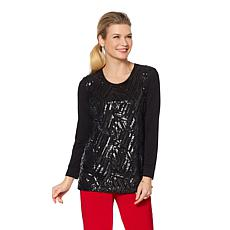 """Antthony """"Couture"""" Mixed Media Sequin Long-Sleeve Top"""