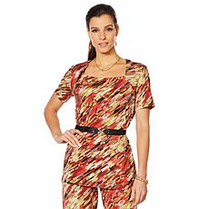 """Antthony """"Culturally Styled"""" Printed Short-Sleeve Top"""