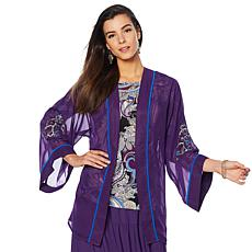 "Antthony ""Elda Collection"" 2-piece Embroidered Kimono and Top Set"