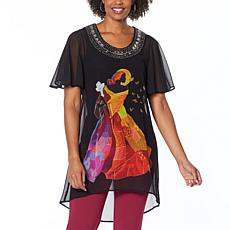 Antthony Holiday Luxe Lady Print Hi-Low Tunic