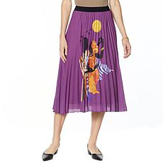 Antthony Holiday Luxe Lady Print Pleated Skirt