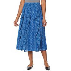 Antthony Holiday Luxe Print Midi Skirt with Ruffles