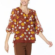 Antthony Holiday Luxe Printed Chiffon Ruffled V-Neck Tunic