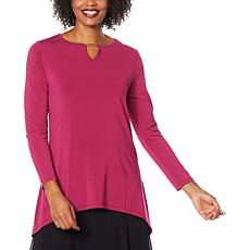 Antthony Keyhole Neck Hi-Low Hem Top