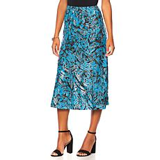 "Antthony ""Metallic Flower"" Printed Gored Skirt"