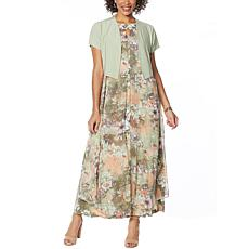 "Antthony ""Natural Flow"" Printed Maxi Dress and Solid Bolero"