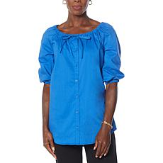 Antthony On/Off Shoulder Button-Up Top