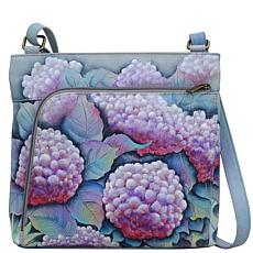 Anuschka Hand Painted Leather Crossbody with Front Zip Organizer