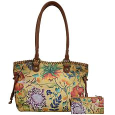 Anuschka Hand Painted Leather Double Handle Large Tote