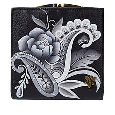 Anuschka Hand-Painted Leather Trifold Wallet with Coin Pocket