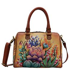 Anuschka Hand-Painted Leather Zip Around Classic Satchel
