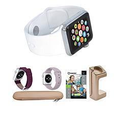 Apple 42mm Series 1 Watch w/Extra Bands & ChargerStand - Silver/White