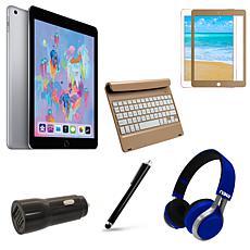 "Apple iPad 9.7"" 128GB in Space Gray w/Gold Keyboard & Accessories"