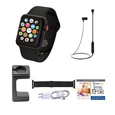 Apple Series 3 38mm Watch w/Calls, Texts and Bluetooth Earbuds - Black