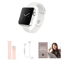 Apple Watch Series 3 38mm Silver Bundle with Bluetooth Earbuds