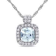 Aquamarine & Diamond Cushion Pendant with 14K Chain