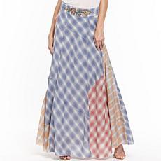 Aratta Bay Breeze Embroidered Plaid Maxi Skirt