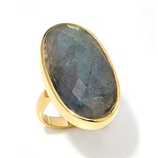 Argento Vivo Gold-Plated Oval Labradorite Ring