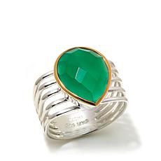 Argento Vivo Green Onyx Multi-Row 2-Tone Ring