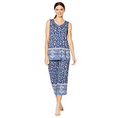 Aria Jersey Knit Border Print 2-piece PJ Set