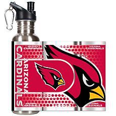 Arizona Cardinals Stainless Steel Water Bottle with Met