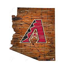 Arizona Diamondbacks 24in. Distressed State w/Logo Sign