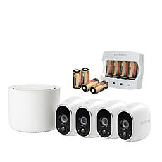 Arlo HD 4-Camera Wireless Security System w/8-pack Batteries & Charger