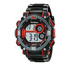 Armitron Men's Black and Red Digital Chronograph Sport Watch