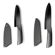 Art and Cook Set of 2 Elite Mirror-Polished Ceramic Santoku Knives
