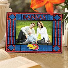 Art Glass Horizontal Picture Frame - Kansas University