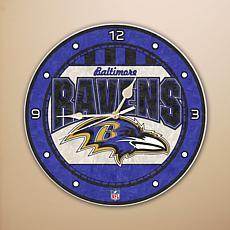 Art Glass Wall Clock - Baltimore Ravens