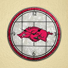 Art Glass Wall Clock - University of Arkansas