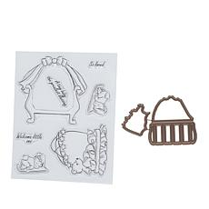 Art Impressions Mini TryFold Welcome Little One 9pc Stamp and Die Set