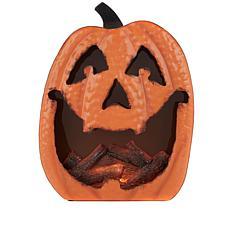 """As Is"" 14"" Halloween LED-Lit Glowing Metal Pumpkin Decoration"