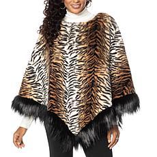 """As Is"" Adrienne Landau Faux Fur Poncho"