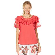 """""""As Is"""" Antthony """"Ocean Waves"""" Lace-Trim Top"""