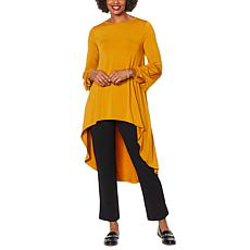 """As Is"" Antthony Puff-Sleeve Hi-Low Hem Top"