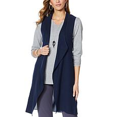 """""""As Is"""" Antthony Sweater Knit Vest with Chiffon Back Panel"""